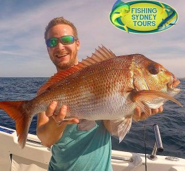 Alex with a 70cm Sydney Snapper